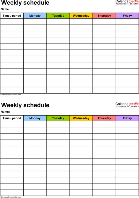 Weekly schedule template for PDF version 3 2 schedules on one - academic calendar templates