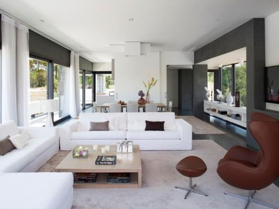 Wohnzimmer mit offener Design-Küche Wohnideen Pinterest - offene kuche wohnzimmer