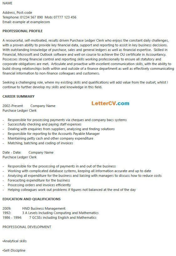 Purchase Ledger Clerk Cv Example Cv Examples Financial Information Clerks