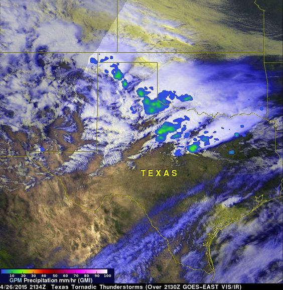 GPM rainfall data showed that some thunderstorms over central Texas on April 26, 2015, at 4:42 p.m. CDT were generating rainfall at rates of 1.18 inches (30 mm) per hour. Credits: NASA's Goddard Space Flight Center/Hal Pierce