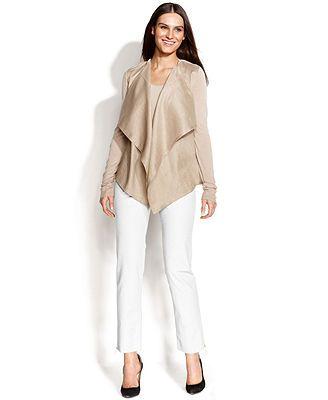 Calvin Klein Mixed-Media Cardigan, Sleeveless Top & Straight-Leg Pants