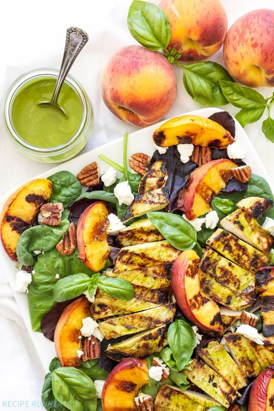 Grilled Chicken, Peach, Pecan, and Goat Cheese Salad with Basil ...
