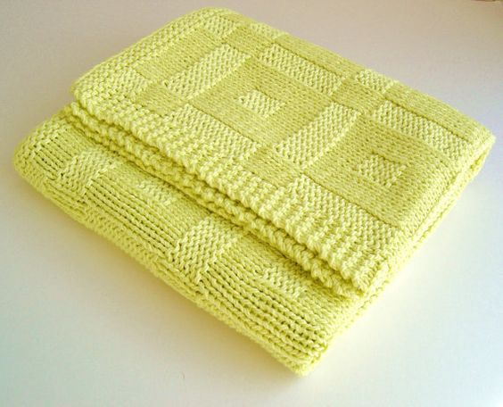 Easy Knitting Baby Blankets Pattern Beginners : Knitting pattern Baby Blanket Easy Beginner Baby Blanket Pattern lined Instan...