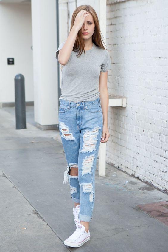 2020 Bayan Kot Pantolon Kombinleri Mavi Yirtik Pantolon Gri Kisa Kollu Spor Tisort Yazlik Giysiler Tarz Moda Moda