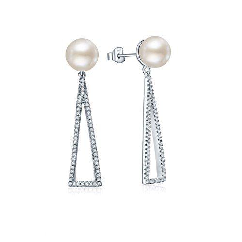 YL 925 Sterlingsilber Zirkonia und 8 mm Perle mit Weißgol…