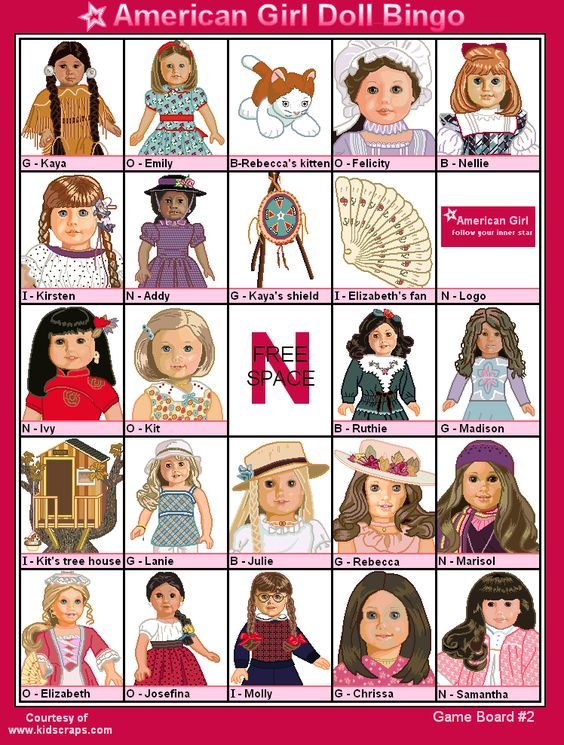American Girl Doll Printables Free | FREE Printable American Girl Dolls Bingo - Games at Kid Scraps