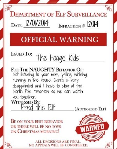 An Elf Warning For Naughty Kids Make Your Elf On The Shelf Useful
