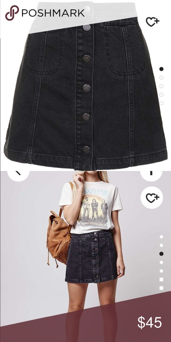 Petite Black Button-Down Denim Skirt (pics added!) NWT | D ...