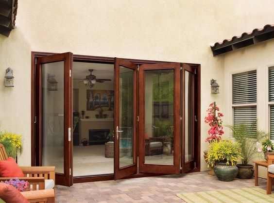 Jeld Wen Aurora Mahogany Woodgrain Fiberglass Folding Patio Door System Low E Glass Jeld Wen