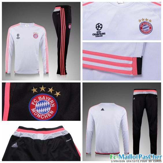 nouveau champions league survetement bayern munich blanc 15 2016 2017 prix pas cher. Black Bedroom Furniture Sets. Home Design Ideas