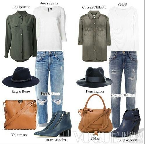 dark/army green shirt, a white T-shirt and boyfriend style rip jeans, gray-blue boots, wide-brimmed hat creating a chic casual look