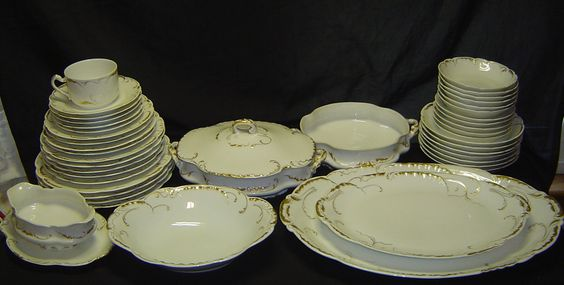 44 Haviland Limoges Marseille White Gold China Set Lot Plate Bowl Serving 422   eBay