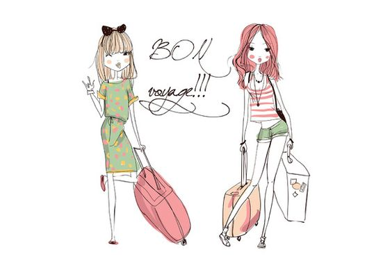 Vector fashion girls with suitcases  @creativework247