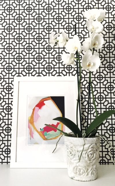 Making a geometric stand with our Sussex wallpaper. Victoria Nickolls