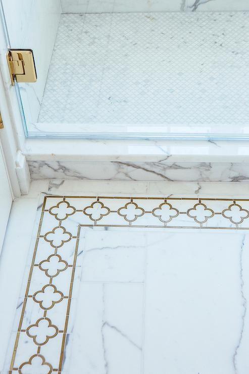 white marble bathroom floor tiles are