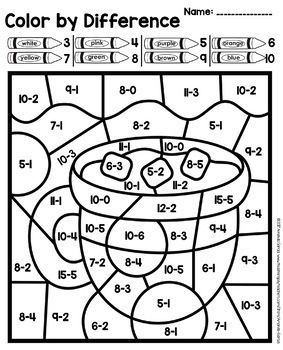 Color By Number Sum And Difference Winter Addition Su Math Coloring Worksheets Addition And Subtraction Addition And Subtraction Practice