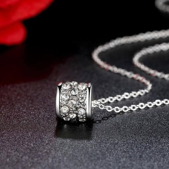 Necklace - Silver Plated Cubic Zirconia Pendant Necklace