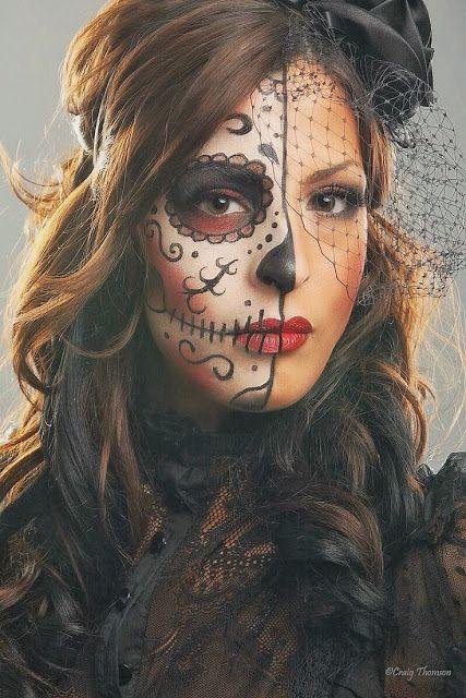 La Catrina, Disfraz Catrina, Chica Calavera, Mitad Catrina, Maquillaje Halloween Mujer Calavera, Catrina Makeup Mitad, Maquillaje Dia De Muertos Mujer,