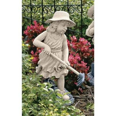 "Rebecca, Young Gardener Sculpture. A member of our staff chuckled about this sculpture, ""As usual, the girl is getting something done!"" You can put her to work as creative garden art, cast in designer resin. Incredibly detailed from her woven straw hat to the wooden texture of her tool, this sculpture is full of enough artistic charm to evoke childhood memories of days gone by. #gardener #statue #children"