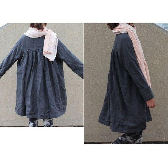 Free Style Pleated Linen Long Jacket/ Cape/ Black par Ramies, $89.00