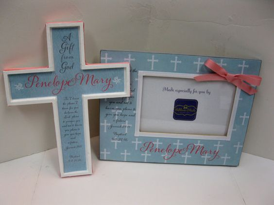Baptism Frame  and Cross set with Bible verse and by RibbonMade