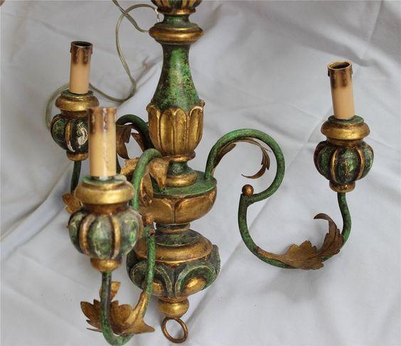 Lüster, Holz, grün-goldfarben, 3-flammig, edel, florentiner Art, Kronleuchter