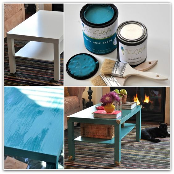 I hacked my Ikea Lack Coffee Table with Cece Caldwell's Destin Gulf Green Paint....and hardware from Lee Valley. LOVE the results! :):