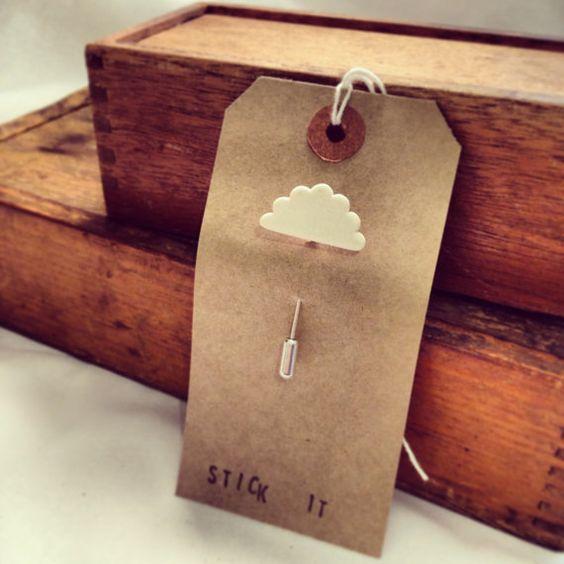 Stick it Little fluffy porcelain cloud stick pin by TenaciousBloom, £10.00