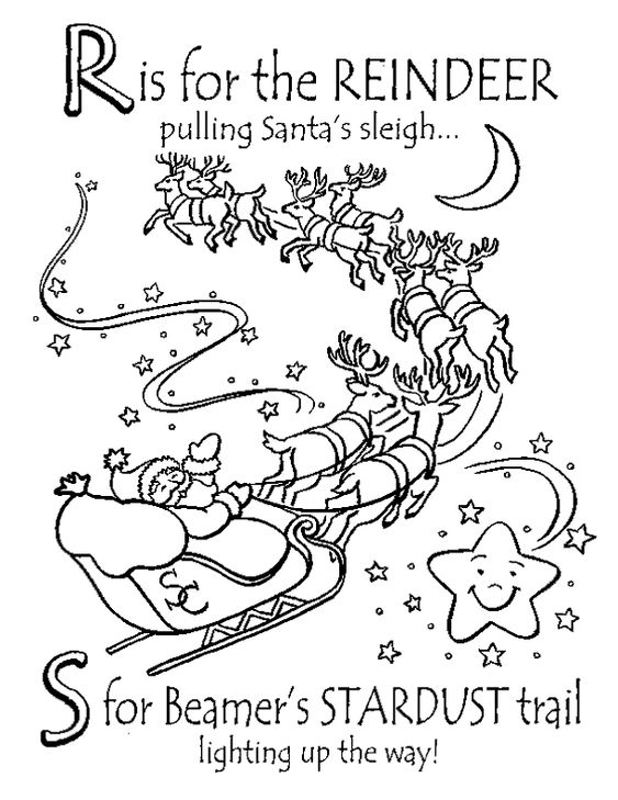 reindeer pulling sleigh coloring pages - photo#7