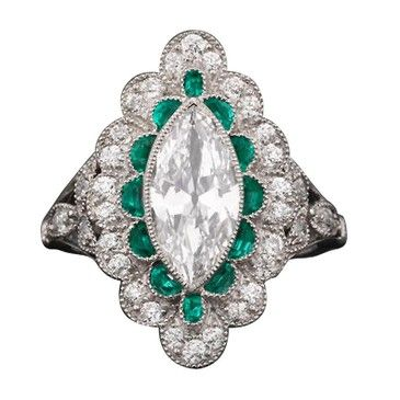 1STDIBS.COM Jewelry & Watches - Art Deco Golconda Diamond and Emerald Ring - MS Rau Antiques