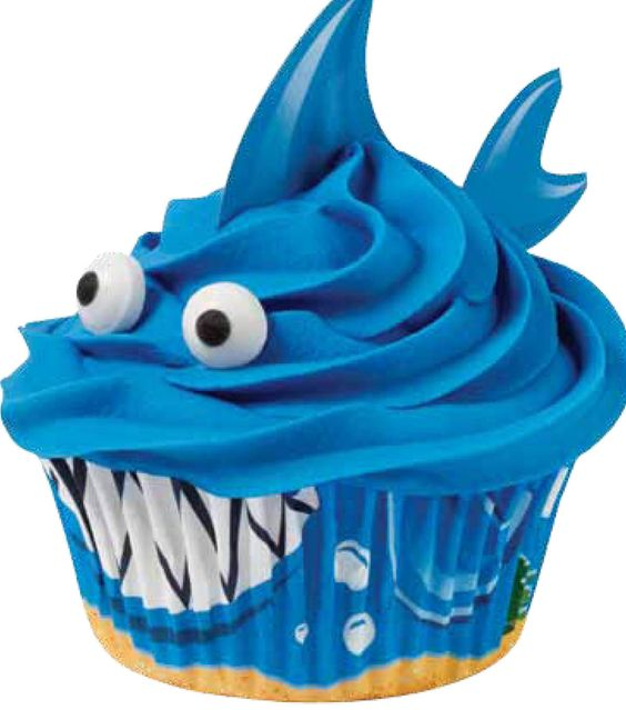 Shark Cupcakes & For Babies & Kids at Joann.com- recipe and instructions are next to pic green link: