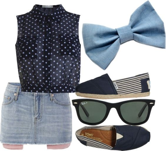 """polka dots, stripes, and light blue"" by aurorabelle16 on Polyvore"