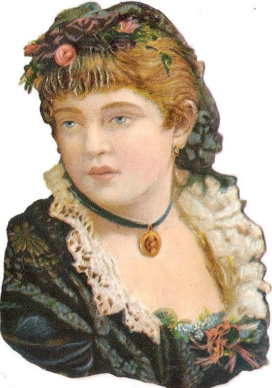 Oblaten Glanzbild scrap die cut chromo Dame  10,4cm lady buste portrait Mädchen: