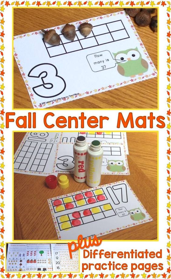 Practice numbers & counting with these fun fall, autumn center or play dough mats plus 3 sets of differentiated printable practice pages with fall, autumn clip art. Common core aligned, available in color and black / white. https://www.teacherspayteachers.com/Product/Fall-Counting-Numbers-Practice-Pages-1-20-DifferentiatedCommon-Core-Aligned-886940