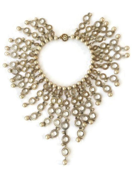 Vintage William deLillo Faceted Crystal Bezel and Pearl Dangle Bib Necklace