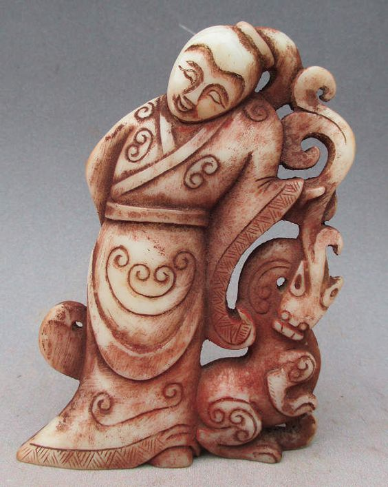 Old Chinese White Jade Carved Dragon Woman Statue