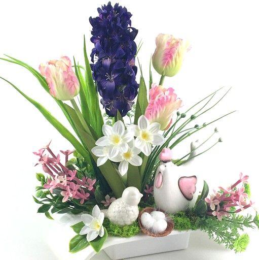 STROIK WIELKANOCNY KOMPOZYCJA STÓŁ KOMODA KOMINEK | Floral wreath, Floral,  Wreaths