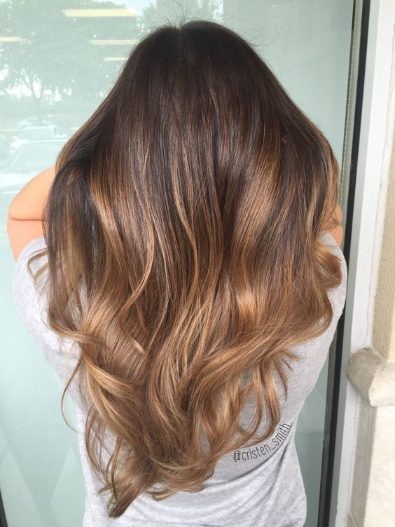 Chocolate caramel balayage hair beauty