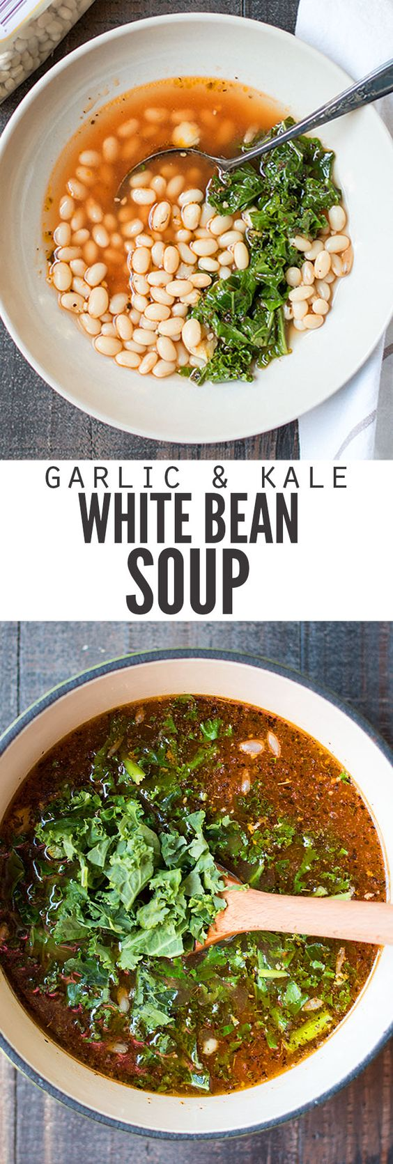 Make a pot of garlic white bean soup with kale and your house will smell like Tuscany! Four basic pantry ingredients make this affordable yet super healthy. :: DontWastetheCrumbs.com