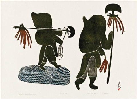 Women Collecting Kelp 1967 39 By Pitseolak Ashoona Inuit Art Art Global Art