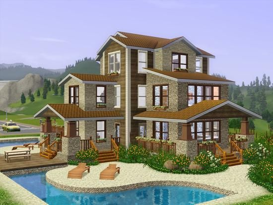 Sims 3 house sims 3 content pinterest house plans for Large family living in small house
