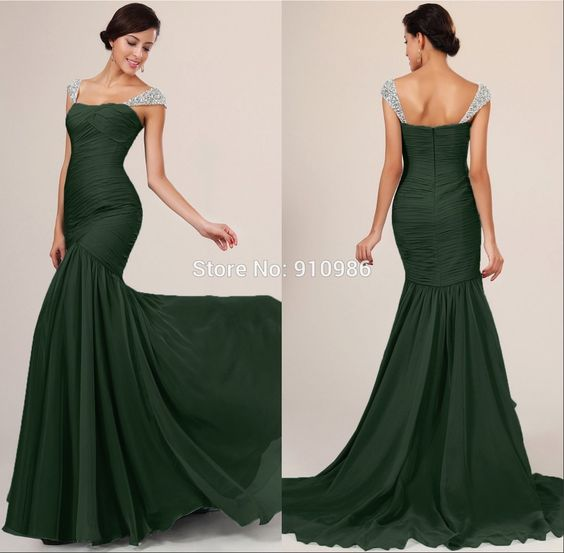 Find More Evening Dresses Information about Dark Green Mermaid ...