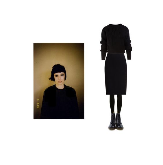 """""""alice glass"""" by valjue ❤ liked on Polyvore featuring SELECTED, Rick Owens, Marni and Dr. Martens"""