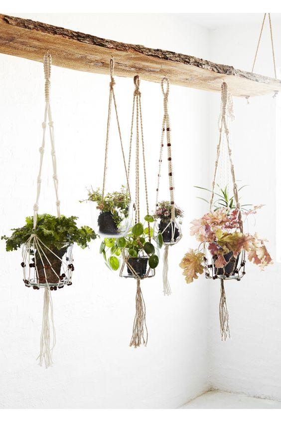 pot en verre suspendu sur corde accrocher au plafond ou. Black Bedroom Furniture Sets. Home Design Ideas