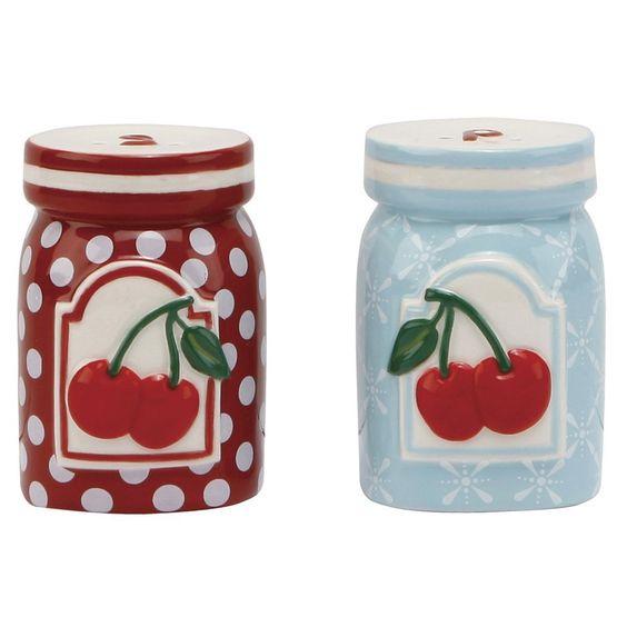 Amazon.com: C.R. Gibson Jessie Steele Ceramic Salt and Pepper Set, Kitchen Cherry: Kitchen & Dining