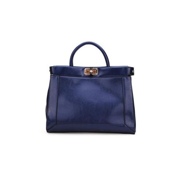 Pu Leather Shoulder Bag Lock Button Women Handbag (£18) ❤ liked on Polyvore featuring bags, handbags and shoulder bags