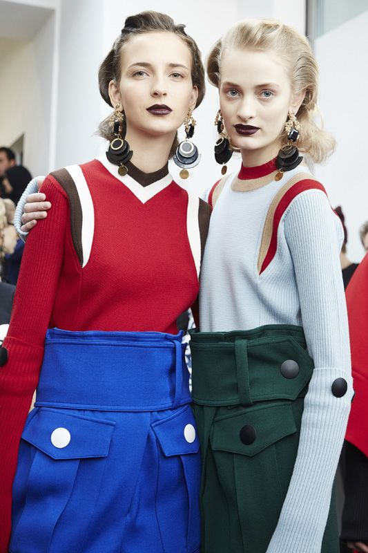 Retro Beauties Backstage at Marni Fall 2016 - -Wmag: