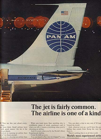 "<Pan Am logo and great quote, ""The jet is fairly common. The airline is one of a kind."" > ""With Love, The Argentina Family~Memories of Tango and Kugel; Mate with Knishes""- Available on Amazon"