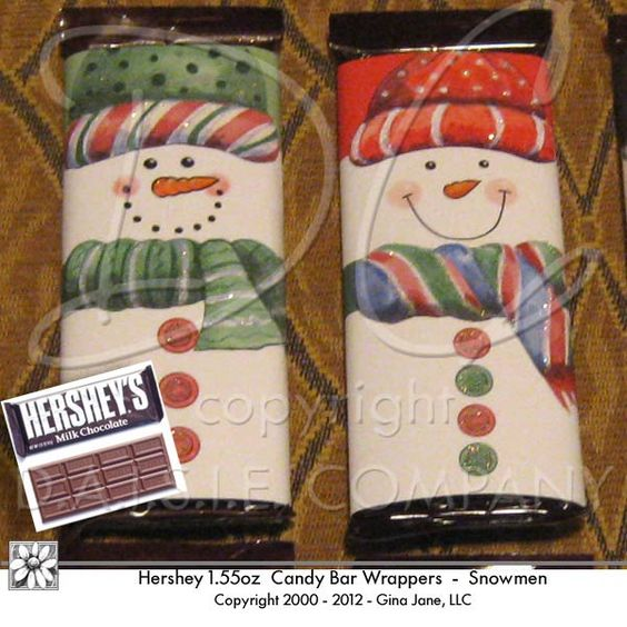 Snowman Face Hershey Candy Wrappers - make your own candy bar ...