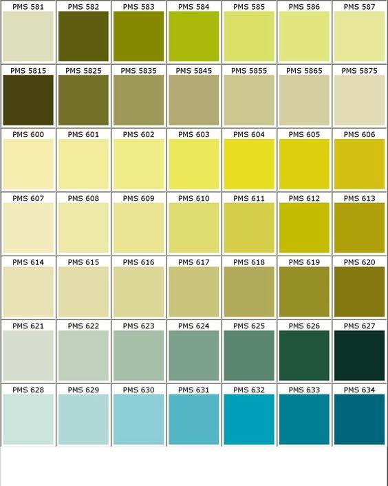Nuancier pantone vert jaune bleu bureau style industriel for Peinture colours nuancier